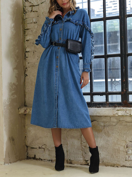 Milanoo Denim Maxi Dress Long Sleeve Frills Button Up Dress