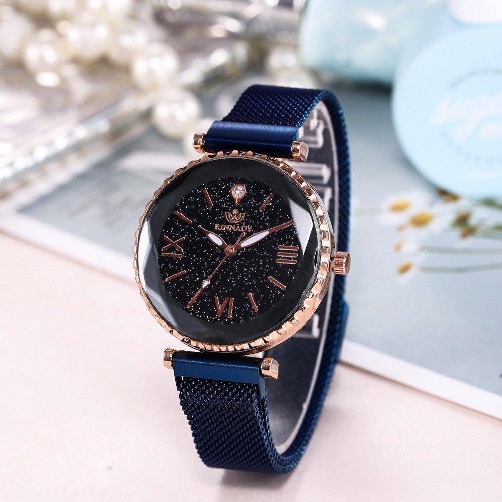 Trendy Starry Sky Roman Watch Stainless Steel Magnet Women Watch Roman Number Watch