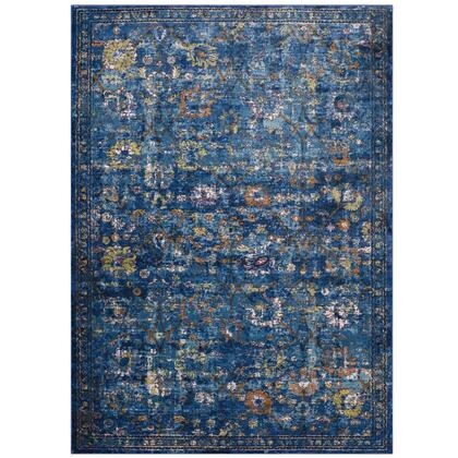 Minu Collection R-1091D-810 Distressed Floral Lattice 8x10 Area Rug in Dark Blue  Yellow and Orange