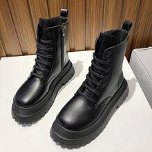 Zip Side Lace-up Combat Boots
