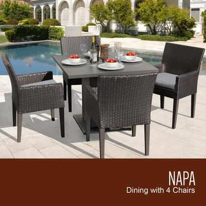 NAPA-SQUARE-KIT-4DCC-GREY Napa Square Dining Table with 4 Chairs with 2 Covers: Wheat and