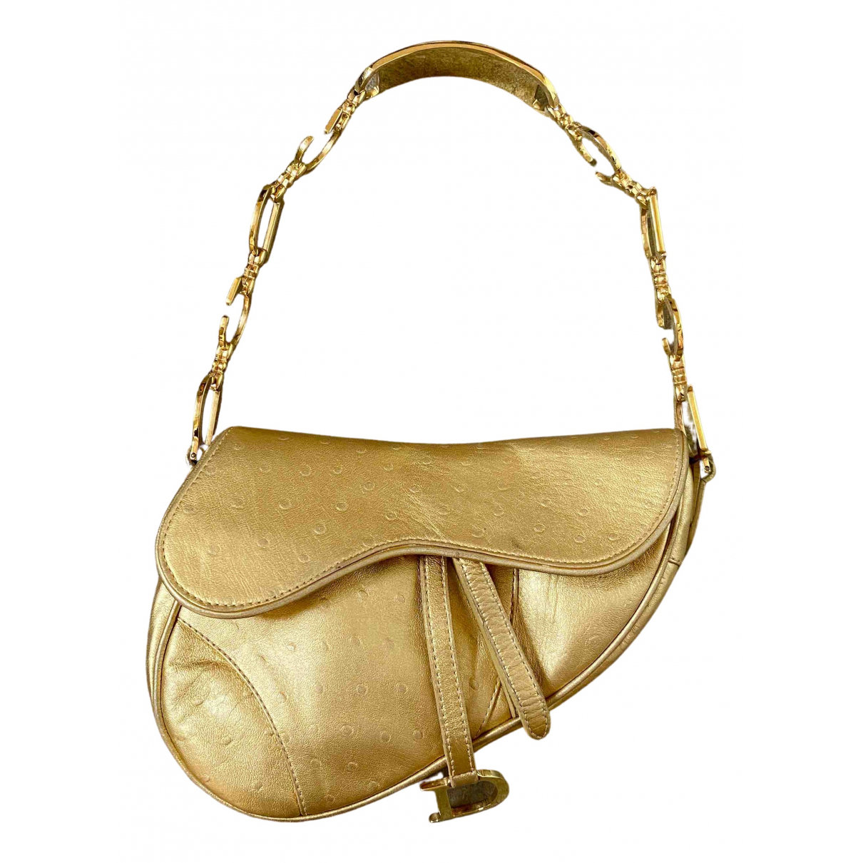 Dior Saddle Gold Ostrich handbag for Women N