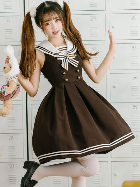 Milanoo JK Lolita Dress Bow Button Stripe Sin mangas Lolita Jumper Faldas