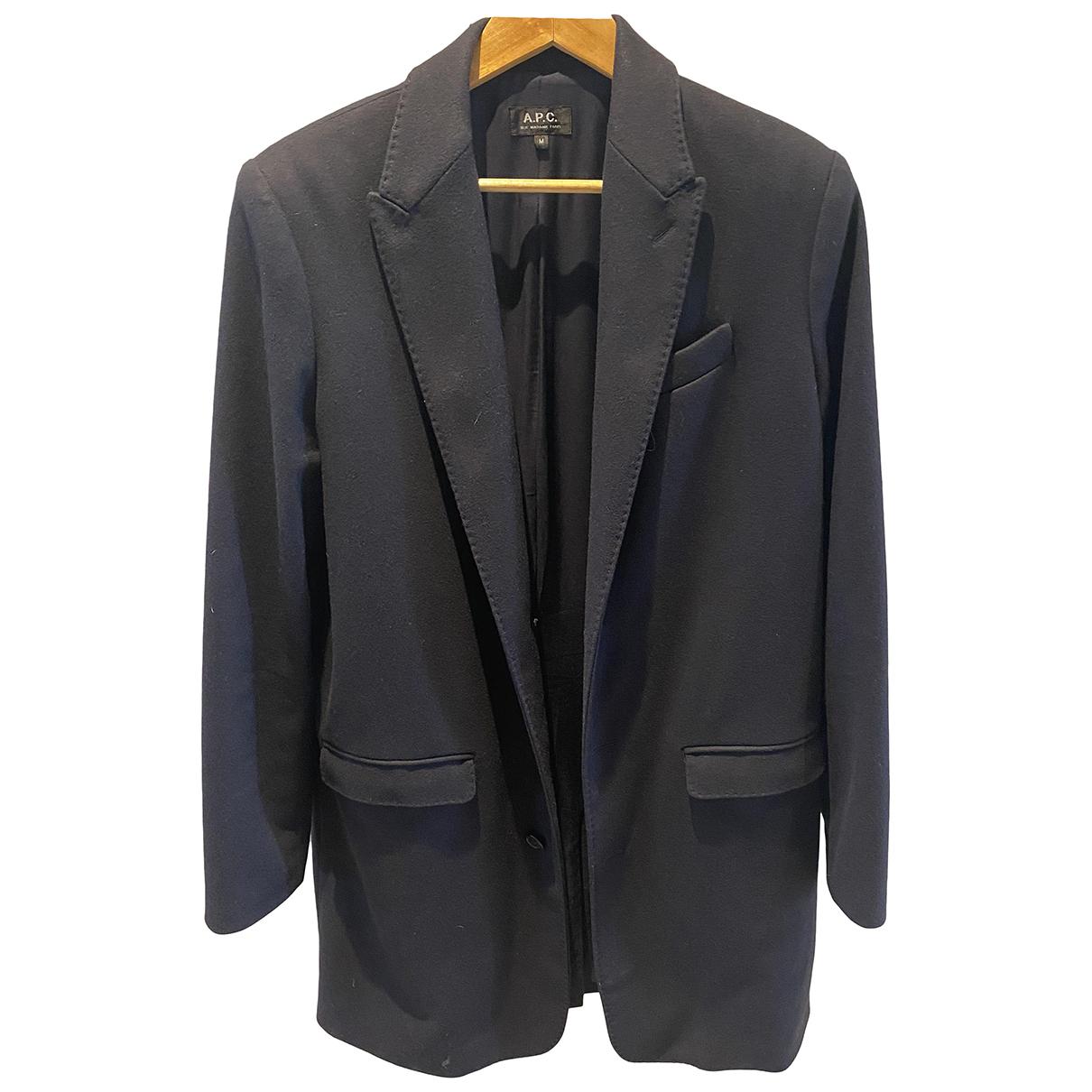 Apc - Manteau   pour homme en laine - bleu