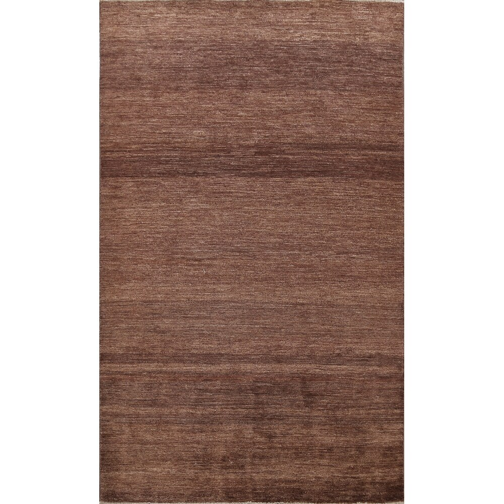 Contemporary Gabbeh Kashkoli Oriental Area Rug Wool Hand-knotted - 57 x 81 (57 x 81 - Brown)