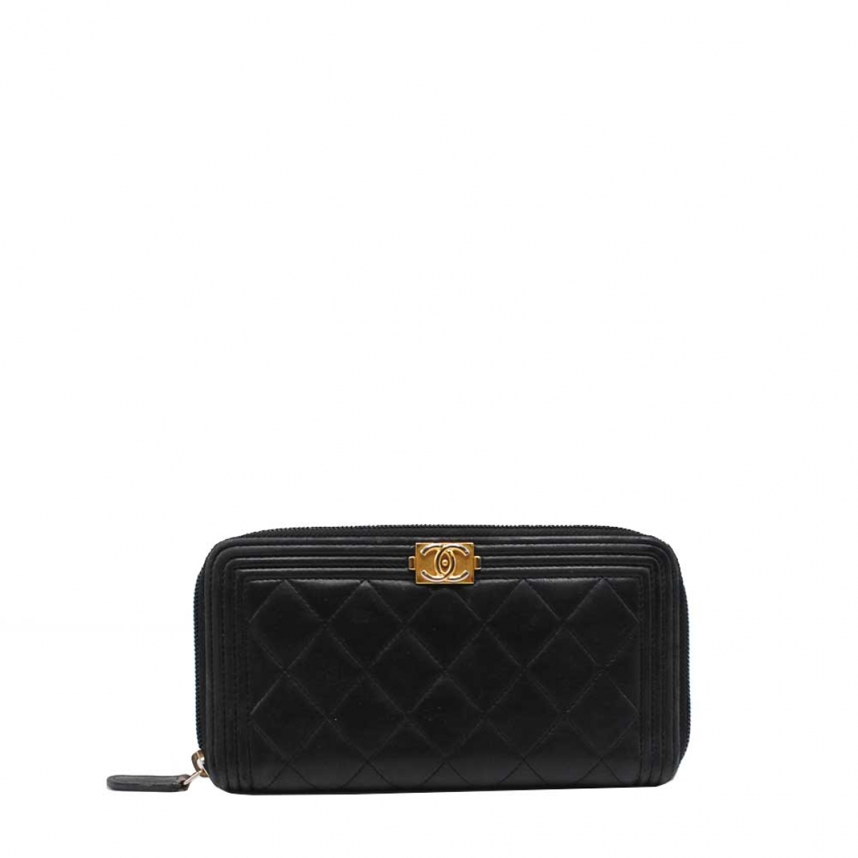 Chanel Boy Portemonnaie in  Schwarz Leder