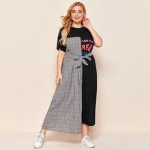 Kleid mit Buchstaben Grafik, Karo Muster Einsatz und Guertel
