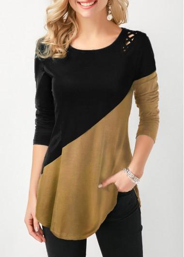 Lace Up Side Color Block Curved Hem T Shirt - M