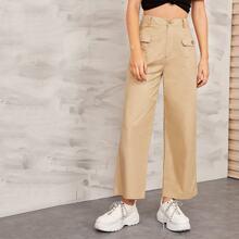 Solid Flap Pocket Front Wide Leg Cargo Pants