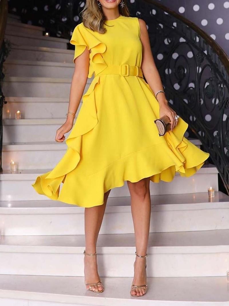 Ericdress Round Neck Ruffles Asymmetric A-Line High Waist Dress