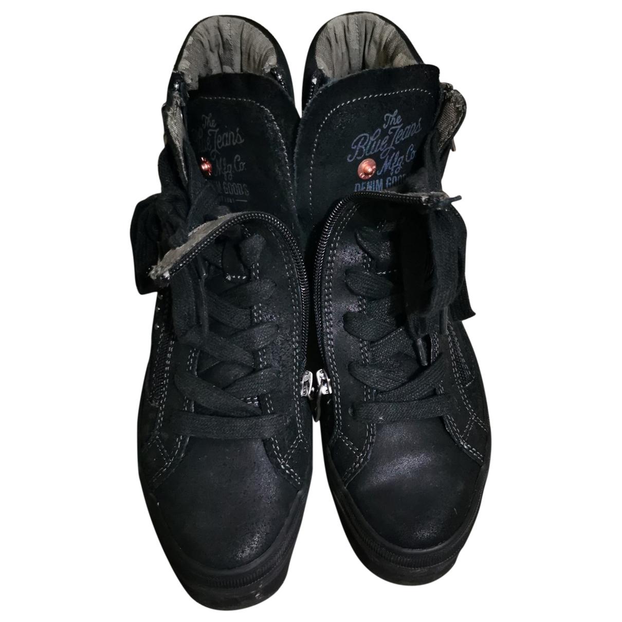 Replay - Baskets   pour femme en cuir - noir