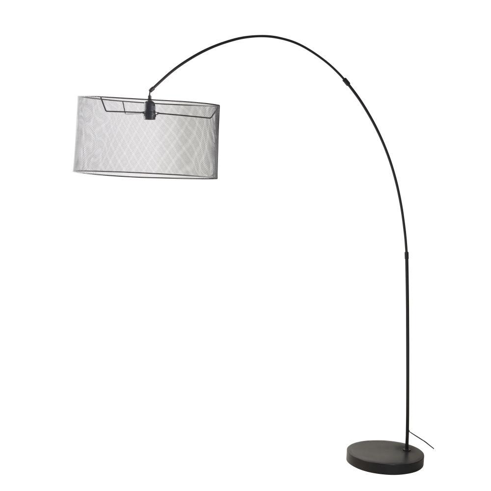 Stehlampe mit schwarzem Metallgestell und Gitterlampenschirm H195