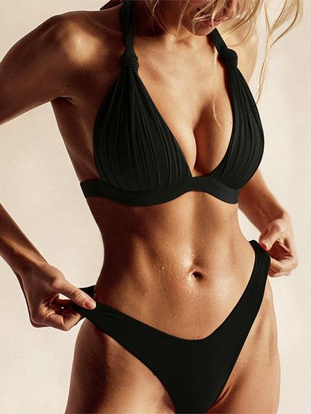 Yoins Knotted Pleated Design Halter Sleeveless Bikini Set