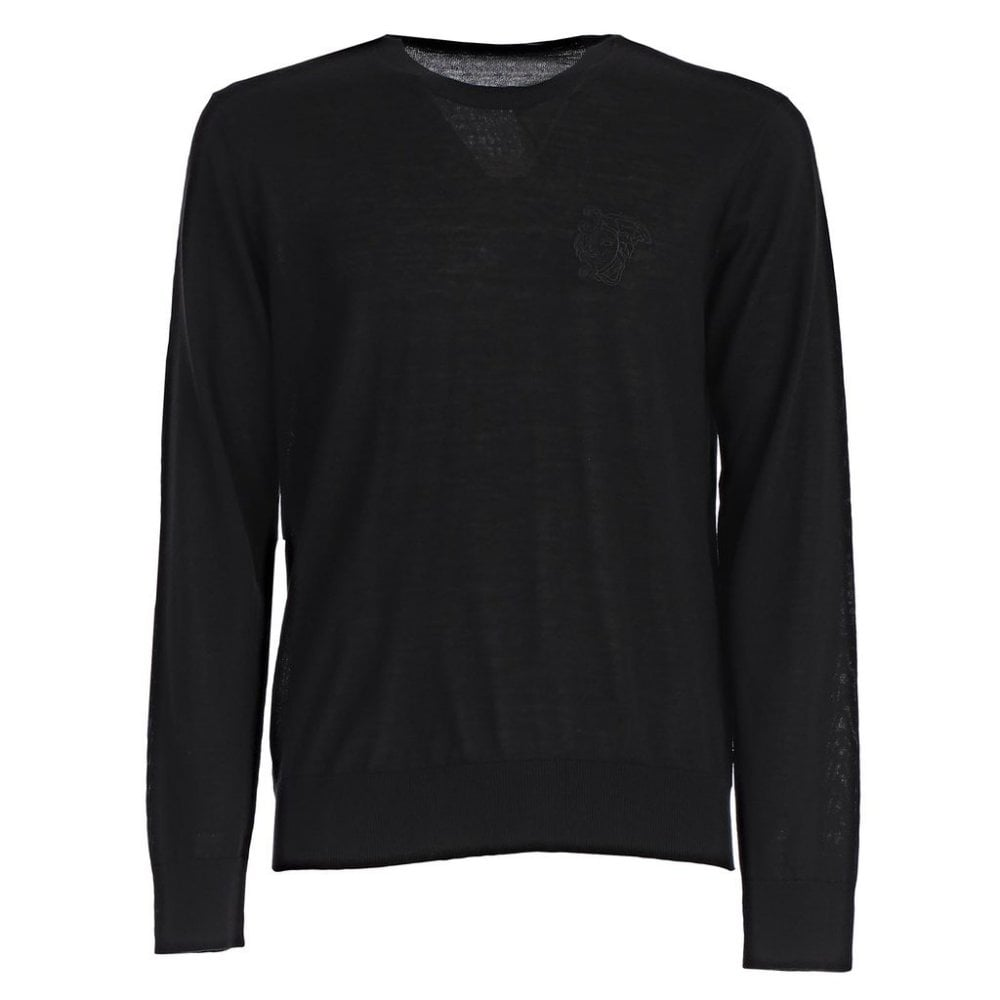 Versace Collection Half Medusa Logo Knitted Sweater Black  Colour: BLACK, Size: MEDIUM
