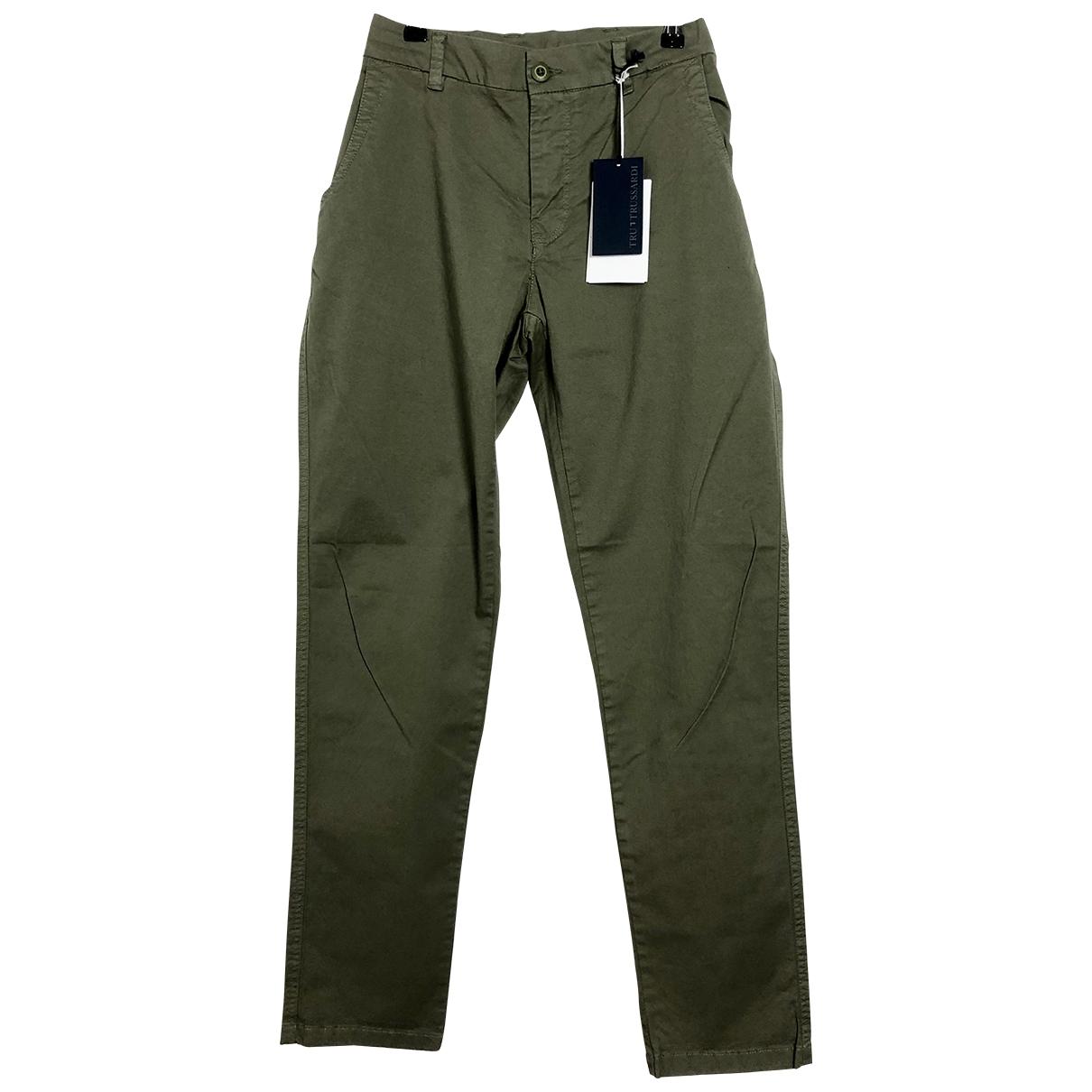 Pantalones en Algodon Verde Trussardi
