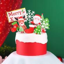 1 set decoracion de pastel con patron de navidad