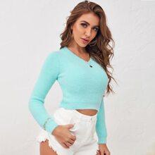 Einfarbiger Strick Crop Pullover