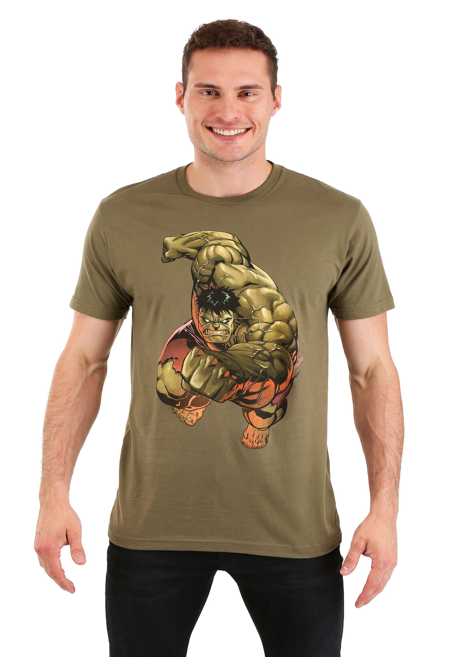 Olive Green Men's Incredible Hulk Punch T-Shirt