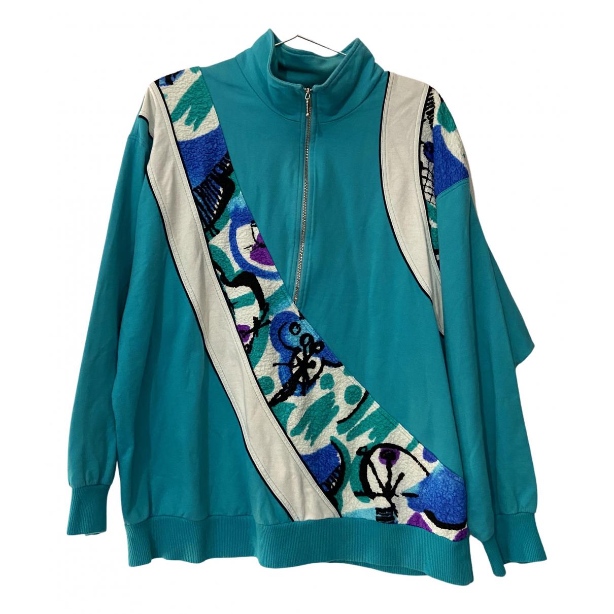 - Pull   pour femme en coton - turquoise