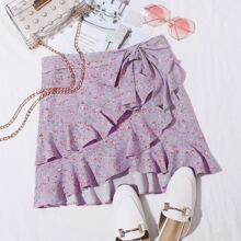 Ditsy Floral Ruffle Trim Self Belted Skirt