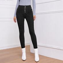 High Waisted High Stretch Button Front Skinny Jeans