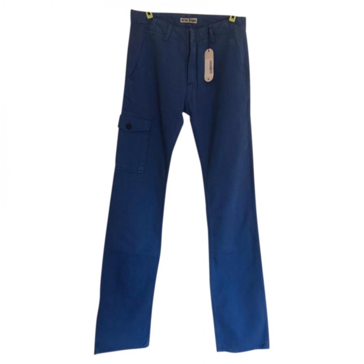 Acne Studios \N Blue Cotton Trousers for Men S International