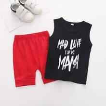 Toddler Boys Slogan Graphic Tank Top With Shorts