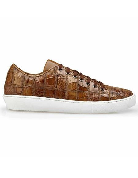 Mens Lace Up Brown Crocodile Shoe