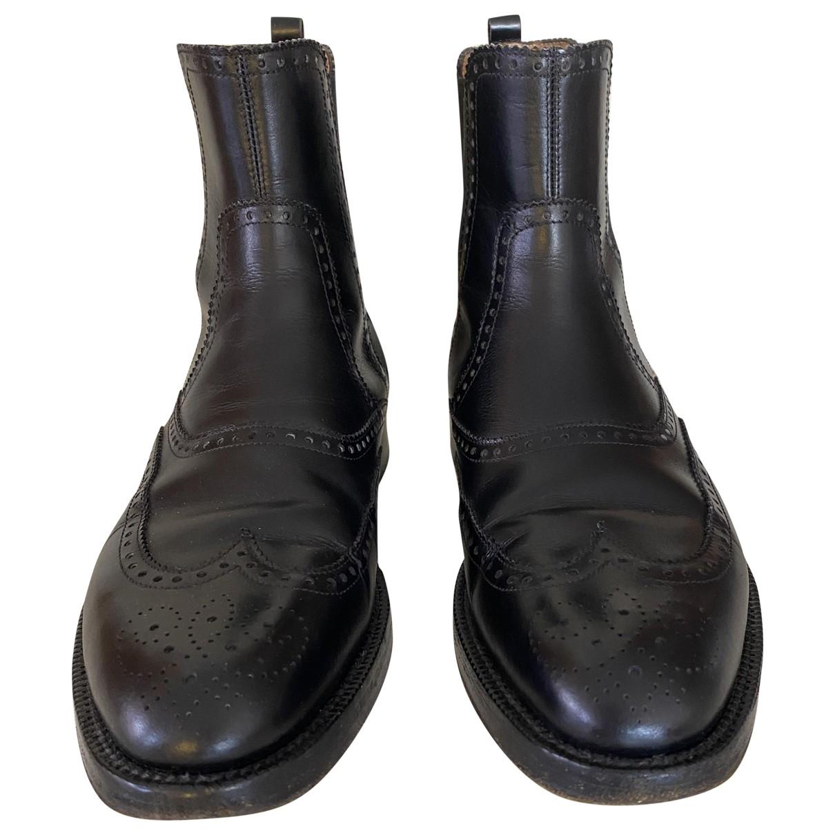 Hermes - Bottes.Boots   pour homme en cuir - noir