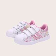 Girls Striped Graphic Velcro Strap Skate Shoes