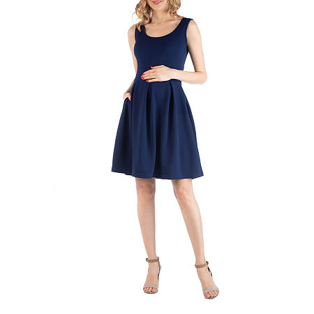 24/7 Comfort Apparel Sleeveless Pleated Dress with Pockets, Medium , Blue