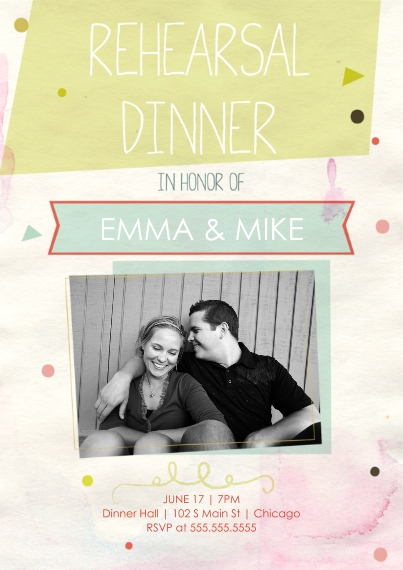 Rehearsal Dinner Invites Flat Glossy Photo Paper Cards with Envelopes, 5x7, Card & Stationery -Confetti Rehearsal Dinner