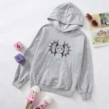 Girls Graphic Print Kangaroo Pocket Hoodie
