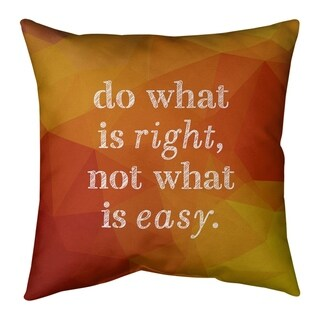 Quotes Faux Gemstone Do What is Right Quote Pillow-Cotton Twill (26 x 26 - Square - Zipper Closure - Large - Cotton - Removable Cover - Accent)