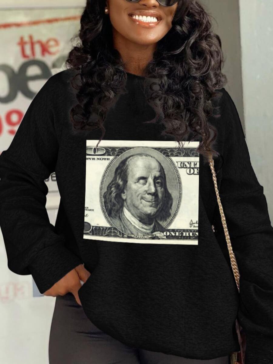 LW Lovely Casual Hooded Collar Money Print Black Hoodie