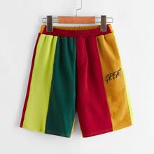 Boys Rainbow Colorblock Letter Print Shorts