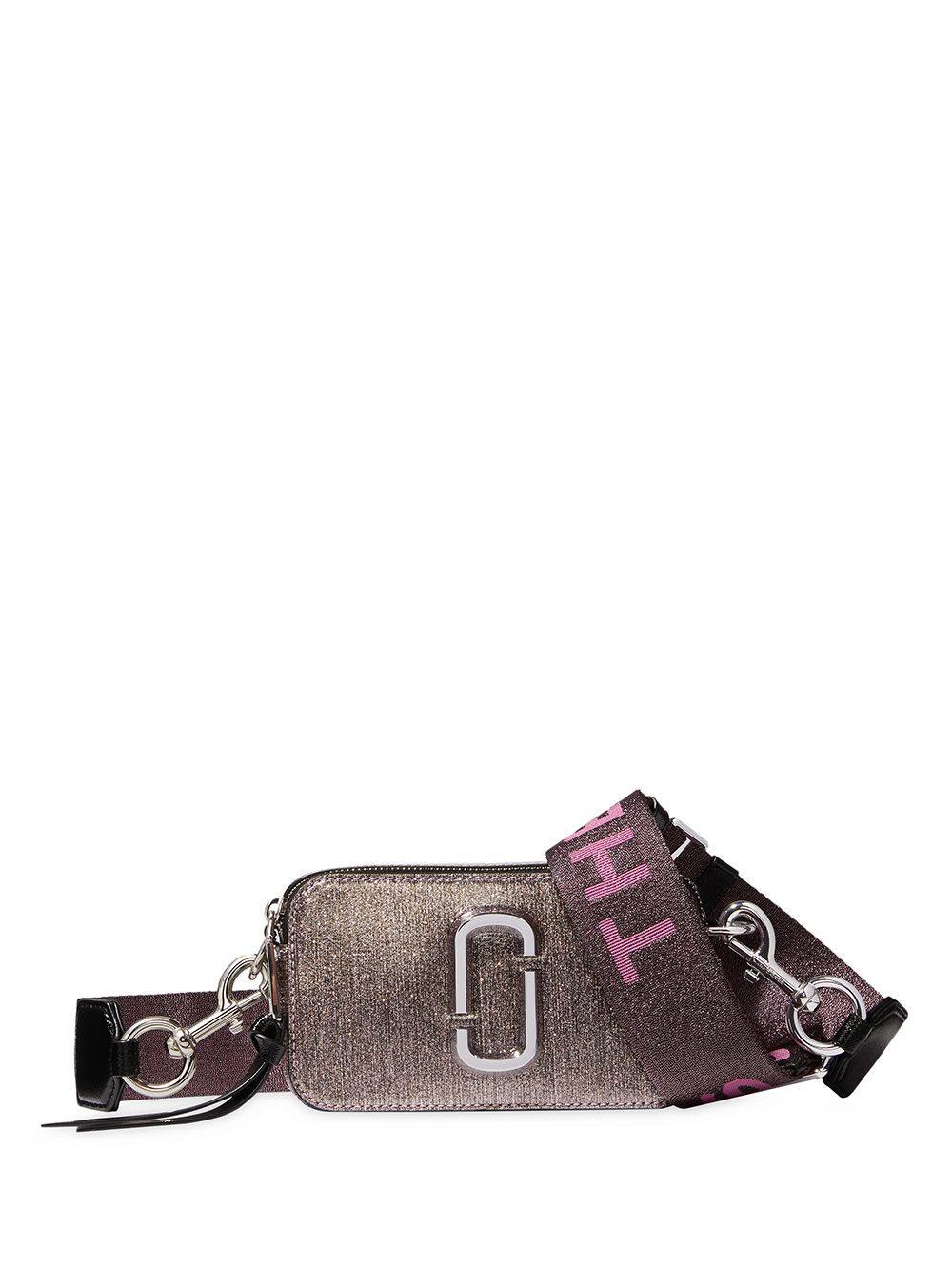 Snapshot Glittered Leather Crossbody Bag