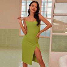 Split Thigh Rib-knit Solid Dress