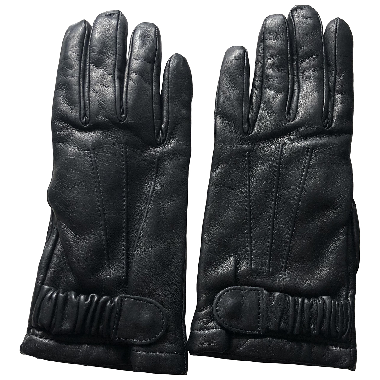 Max Mara \N Black Leather Gloves for Women 7 Inches
