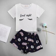 Cartoon And Slogan Graphic Pajama Set