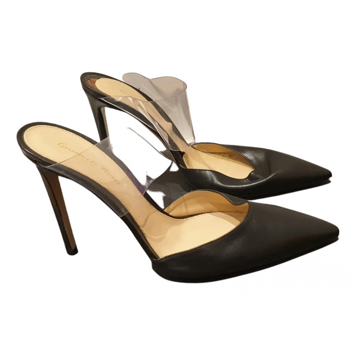 Gianvito Rossi Plexi Black Leather Heels for Women 40 EU