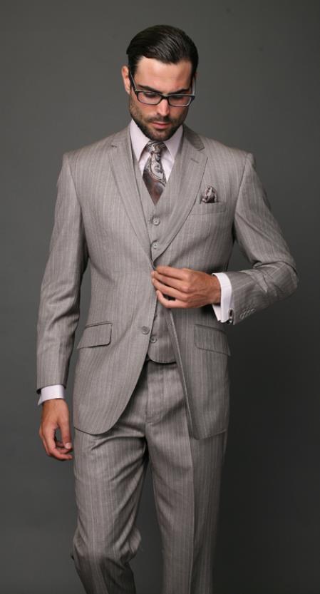 Mens Classic 2 Button Tan Beige Pinstripe 3 Piece Italian Fabric Suit
