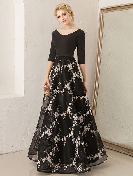 Milanoo Vestidos de fiesta largos Vestidos de fiesta florales vestido de partido formal de longitud media con cuello en V bordado de encaje negro