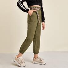 Girls Elastic Waist Patch Pocket Pants With Leopard Belt