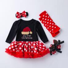 4 Packe Body Kleid mit Weihnachten & Punkten Muster, Netzstoff und Ruesche