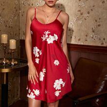 Floral Print Satin Nightdress