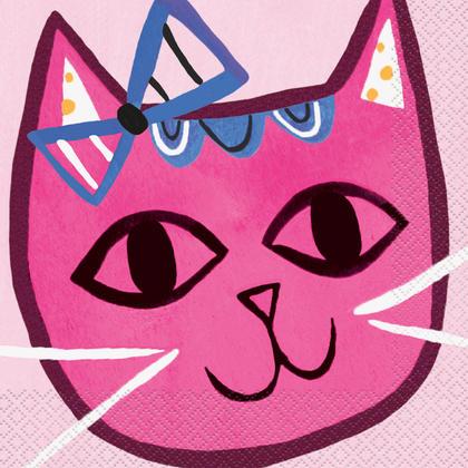 Pink Cat Luncheon Napkins, 16ct Pour la fête d'anniversaire
