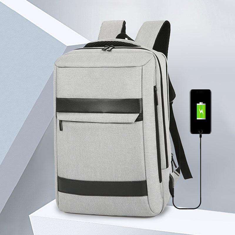 Men Oxford USB Charging Waterproof Multi-pocket Large Capacity 15.6 Inch Laptop Bag Backpack