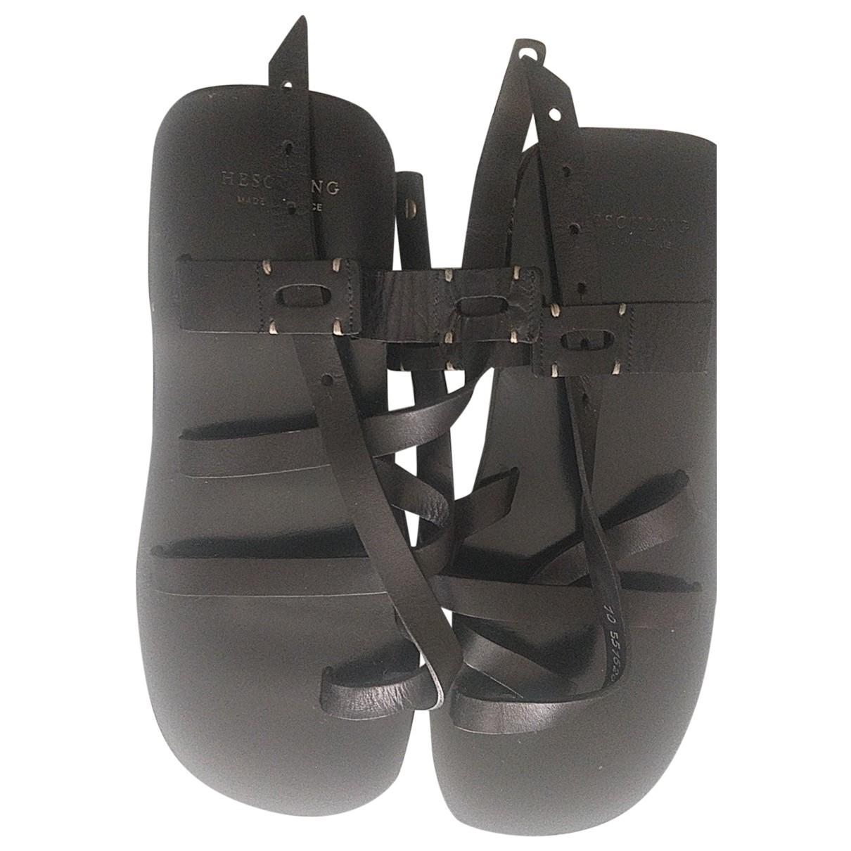 Heschung - Sandales   pour homme en cuir - noir