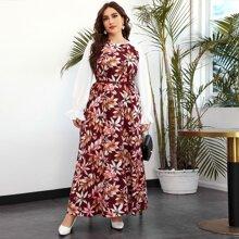Kleid mit Blumen Muster, Rueschen und Raglanaermeln ohne Guertel